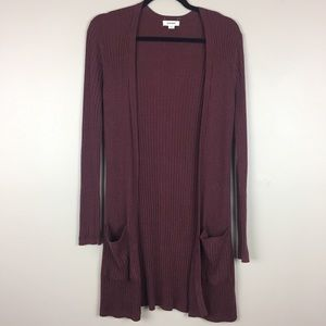 Garage L open front ribbed duster cardigan